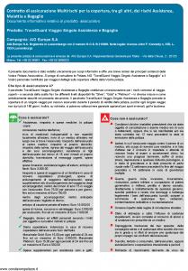 Aig Europe - Travelguard Viaggio Singolo Assistenza E Bagaglio - Modello nd Edizione 01-01-2019 [27P]