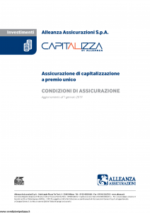 Alleanza Assicurazioni - Capitalizza Di Alleanza - Modello 10309958 Edizione 01-01-2019 [6P]