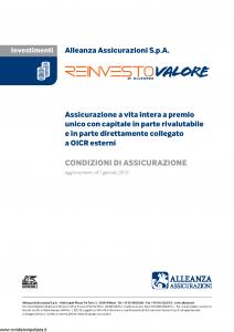 Alleanza Assicurazioni - Reinvesto Valore Di Alleanza - Modello 10319171 Edizione 01-01-2019 [12P]