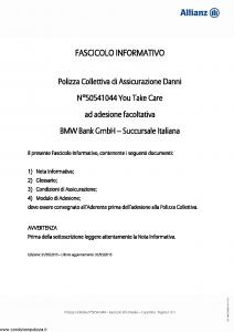Allianz - Bmw 50541044 You Take Care - Modello ad180 Edizione 31-05-2015 [20P]