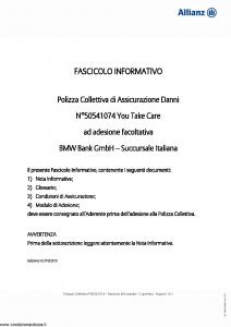 Allianz - Bmw 50541074 You Take Care - Modello ad180 Edizione 01-10-2015 [20P]