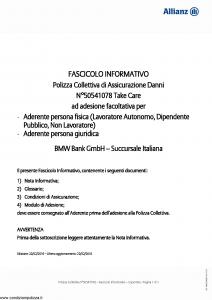 Allianz - Bmw 50541078 Take Care - Modello ad180 Edizione 22-02-2016 [21P]