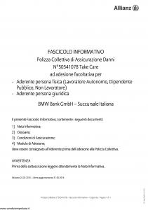 Allianz - Bmw 50541078 Take Care - Modello ad180 Edizione 31-05-2016 [21P]