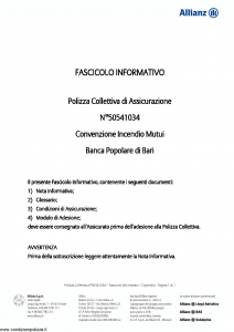 Allianz - Convenzione Incendio Mutui - Modello 50541034 Edizione 31-05-2011 [11P]