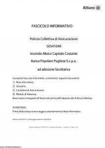 Allianz - Incendio Mutui Capitale Costante - Modello 50541049 Edizione 25-05-2018 [17P]