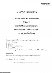 Allianz - Incendio Mutui Capitale Costante - Modello 62590977 Edizione 25-05-2018 [15P]