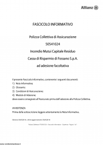 Allianz - Incendio Mutui Capitale Residuo - Modello 50541024 Edizione 25-05-2018 [15P]