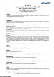 Allianz - Incendio Mutui Capitale Residuo - Modello 50541024 Edizione 31-05-2015 [11P]