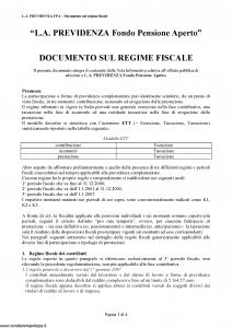 Allianz - L.A. Previdenza Fondo Pensione Aperto Documento Sul Regime Fiscale - Modello vi039-3 Edizione nd [6P]