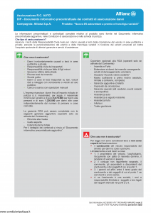 Allianz - Nuova 4R Autovetture A Premio E Franchigia Variabili - Modello az-s1000-atvt-rcaard-n4rard-mod2 Edizione 01-01-2019 [66P]