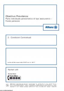 Allianz - Obiettivo Previdenza Condizioni Contrattuali - Modello rv8001 Edizione 01-2013 [34P]