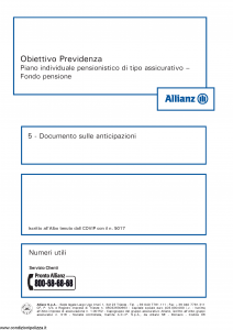 Allianz - Obiettivo Previdenza Documento Sulle Anticipazioni - Modello rv8001 Edizione 01-2013 [6P]