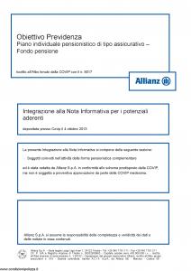 Allianz - Obiettivo Previdenza Integrazione Alla Nota Informativa - Modello rv8001 Edizione 01-2013 [4P]
