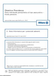 Allianz - Obiettivo Previdenza Nota Informativa Potenziali Aderenti - Modello rv8001 Edizione 03-2013 [43P]