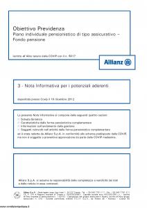 Allianz - Obiettivo Previdenza Nota Informativa Potenziali Aderenti - Modello rv8001 Edizione 10-12-2012 [44P]