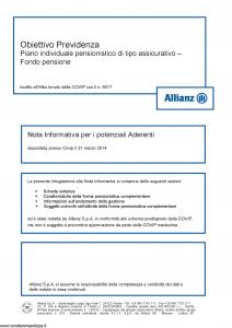 Allianz - Obiettivo Previdenza Nota Informativa Potenziali Aderenti - Modello rv8001 Edizione 31-03-2014 [34P]