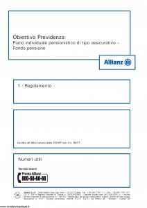 Allianz - Obiettivo Previdenza Regolamento - Modello rv8001 Edizione 01-2013 [14P]