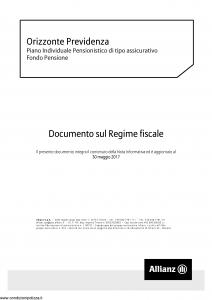 Allianz - Orizzonte Previdenza Documento Sul Regime Fiscale - Modello nd Edizione 30-05-2017 [6P]