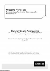 Allianz - Orizzonte Previdenza Documento Sulle Anticipazioni - Modello nd Edizione 30-05-2017 [8P]