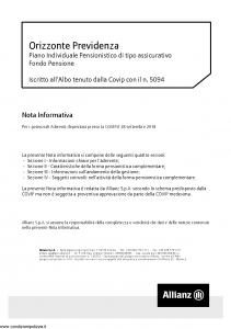 Allianz - Orizzonte Previdenza Piano Individuale Pensionistico Nota Informativa - Modello nd Edizione 29-03-2018 [54P]