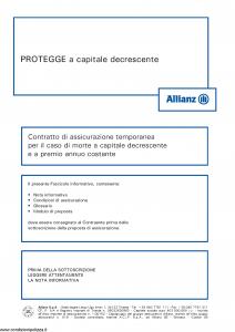 Allianz - Protegge A Capitale Decrescente - Modello 8013 Edizione 05-2014 [30P]