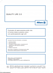 Allianz - Quality Life 2.0 - Modello 8006 Edizione 05-2013 [40P]
