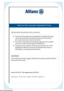 Allianz - Take Care Plus Lavoratori Dipendenti Privati - Modello ad180 Edizione 01-01-2019 [41P]