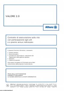 Allianz - Valore 2.0 Indicizzato - Modello 8004 Edizione 05-2014 [56P]