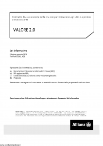Allianz - Valore 2.0 Indicizzato - Modello 8009 Edizione 01-2019 [37P]