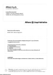 Allianz Lloyd Adriatico - Lovia Decrescente Tariffe 12-01-02 E 12U-01-02 - Modello 7380 Edizione 05-2011 [40P]