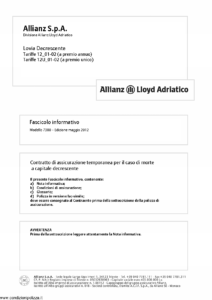 Allianz Lloyd Adriatico - Lovia Decrescente Tariffe 12-01-02 E 12U-01-02 - Modello 7380 Edizione 05-2012 [26P]