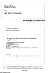 Allianz Lloyd Adriatico - Lovia Tariffe 16-04-05 E 16U-04-05 - Modello 7381 Edizione 05-2011 [28P]