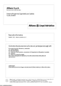 Allianz Lloyd Adriatico - Sistema Risparmio Capitalesicuro Cedola Tariffa 38Ur07 - Modello 7385 Edizione 12-2011 [40P]