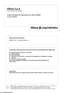 Allianz Lloyd Adriatico - Sistema Risparmio Capitalesicuro Clienti Fedeli Tariffa 38Ur04 - Modello 7384-cf Edizione 12-2011 [40P]
