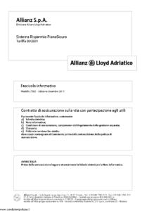 Allianz Lloyd Adriatico - Sistema Risparmio Pianosicuro Tariffa 03Ce01 - Modello 7382 Edizione 12-2011 [42P]