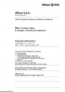 Allianz Ras - Idee Versione Open Le Energie E La Forza Di Realizzare Tariffa R4A-5 - Modello 7338-o Edizione 10-2007 [138P]