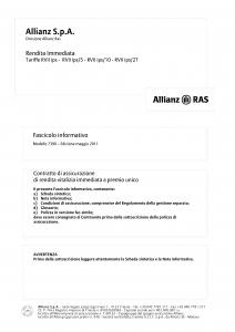 Allianz Ras - Rendita Immediata Tariffe Rvii-Ips_Rvii-Ips-5_Rvii-Ips-10_Rvii-Ips-2T - Modello 7390 Edizione 05-2011 [30P]