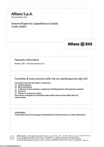 Allianz Ras - Sistema Risparmio Capitale Sicuro Cedola Tariffa 38Ur07 - Modello 7385 Edizione 12-2011 [36P]
