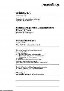 Allianz Ras - Sistema Risparmio Capitale Sicuro Clienti Fedeli Tariffa 38Ur04 - Modello 7357-cf Edizione 03-2010 [64P]