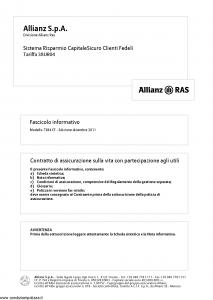 Allianz Ras - Sistema Risparmio Capitale Sicuro Clienti Fedeli Tariffa 38Ur04 - Modello 7384-cf Edizione 12-2011 [36P]