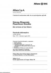 Allianz Ras - Sistema Risparmio Piano Sicuro Rendita Tariffa 36Ce01 - Modello 7373 Edizione 07-2010 [64P]
