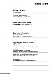 Allianz Ras - Solidita' Clienti Fedeli Investimento Privilegiato Tariffa R4U-Cf - Modello 7340-cf Edizione 03-2008 [46P]