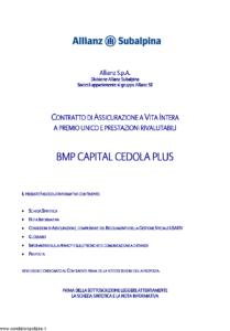 Allianz Subalpina - Bmp Capital Cedola Plus - Modello bmpcc0030910 Edizione 30-09-2010 [33P]
