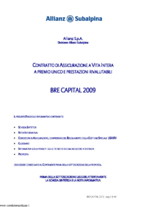 Allianz Subalpina - Bre Capital 2009 - Modello bre0010509 Edizione 09-07-2009 [40P]