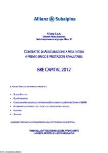 Allianz Subalpina - Bre Capital 2012 - Modello bre0010912 Edizione 31-08-2012 [39P]