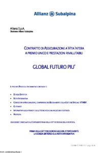 Allianz Subalpina - Global Futuro Piu' - Modello crval0010509 Edizione 18-05-2009 [36P]
