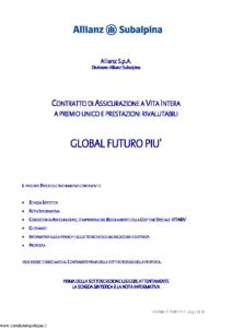 Allianz Subalpina - Global Futuro Piu' - Modello crval0010709 Edizione 26-06-2009 [36P]