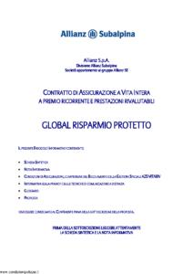 Allianz Subalpina - Global Risparmio Protetto - Modello crval003 Edizione 05-2012 [37P]