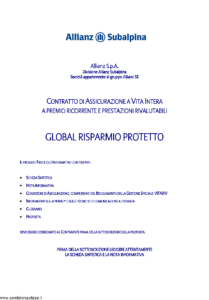 Allianz Subalpina - Global Risparmio Protetto - Modello crval003 Edizione 28-02-2011 [36P]