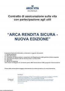 Arca Vita - Arca Rendita Sicura Nuova Edizione - Modello nd Edizione 31-05-2016 [36P]